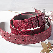 Аксессуары handmade. Livemaster - original item A leather belt with embossed Red, width 3,9 cm. Handmade.