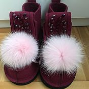 Обувь ручной работы. Ярмарка Мастеров - ручная работа Бордовые валенки. Handmade.