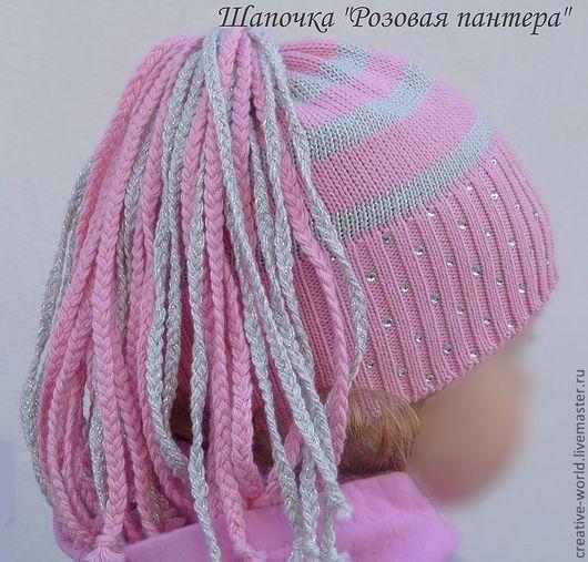"""Шапки и шарфы ручной работы. Ярмарка Мастеров - ручная работа. Купить весенняя летняя шапочка для девочки """"Розовая пантера"""". Handmade."""
