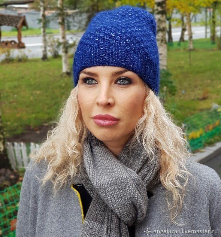 шапка бини из альпаки узором двойной рис купить в интернет