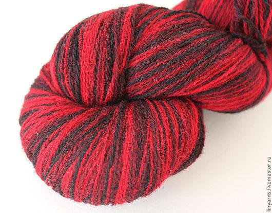 Вязание ручной работы. Ярмарка Мастеров - ручная работа. Купить KAUNI Artistic Yarn Black Red 8/2. Handmade. Кауни
