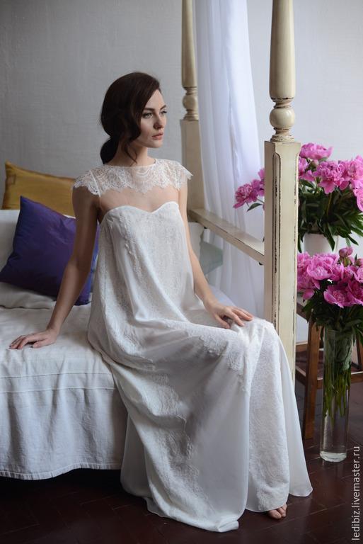 3e5854e9b4c Underwear   Pajamas handmade. Livemaster - handmade. Buy Long Silk Bridal  Nightgown With Lace ...