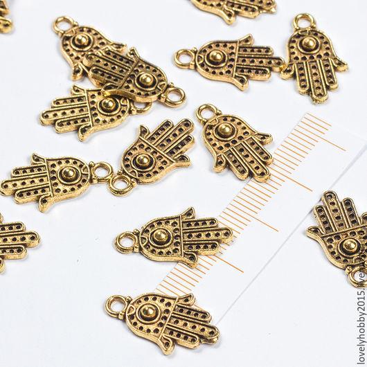 металлическая подвеска ХАМСА золото