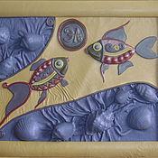 """Картины и панно ручной работы. Ярмарка Мастеров - ручная работа Панно из кожи """"Друг другу навстречу """". Handmade."""