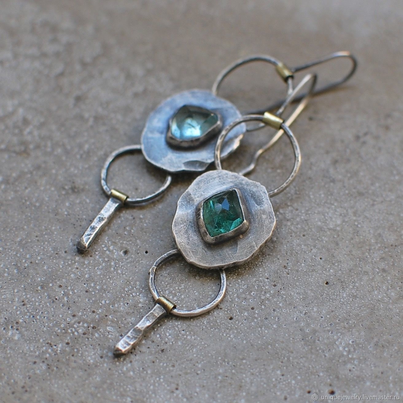 Long tourmaline earrings, silver and brass, Earrings, Moscow,  Фото №1