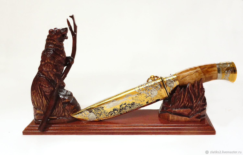 """Кованый нож на подставке """"Медведь"""", Ножи, Златоуст,  Фото №1"""