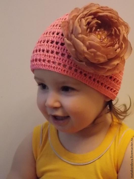 Шапки и шарфы ручной работы. Ярмарка Мастеров - ручная работа. Купить Шапочка вязаная для девочки с цветком. Handmade. Розовый