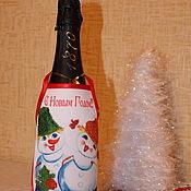 """Подарки к праздникам ручной работы. Ярмарка Мастеров - ручная работа Фартук на бутылку """"Скоро новый год!!!"""". Handmade."""
