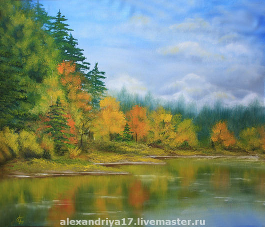 Пейзаж ручной работы. Ярмарка Мастеров - ручная работа. Купить Картина «Осень». Handmade. Пейзаж, лес, осень, озеро, зеленый