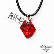 Украшения handmade. Livemaster - original item Silver pendant with Swarovski crystal Red Swarovski Heart pendant. Handmade.