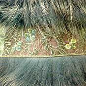 Одежда ручной работы. Ярмарка Мастеров - ручная работа Жилет из бирюзовой лисы на шелковой ленте с кружевом. Handmade.