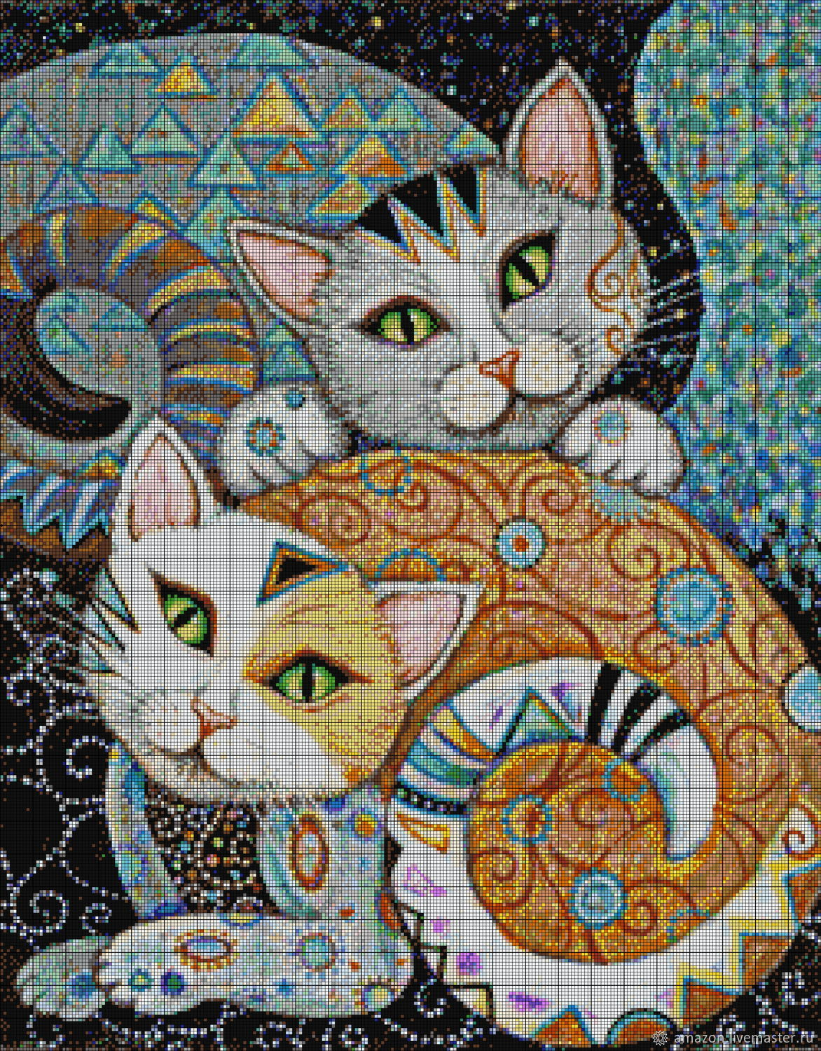 Kit embroidery with beads 'CATS' full lining with beads, Creator\'s Kit, Ufa,  Фото №1