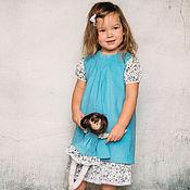 Работы для детей, ручной работы. Ярмарка Мастеров - ручная работа Синее платье family look. Handmade.