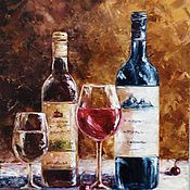 Картины и панно handmade. Livemaster - original item Oil painting still life Wine. Handmade.