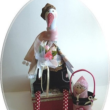 Куклы и игрушки ручной работы. Ярмарка Мастеров - ручная работа Аист тильда с младенцем.Подарок на рождение девочки. Розовый цвет.. Handmade.