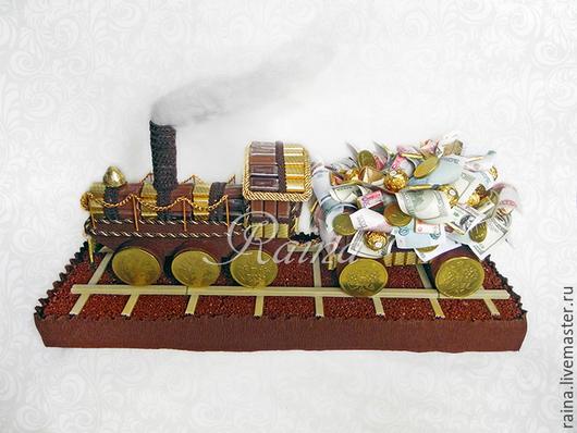 Букеты ручной работы. Ярмарка Мастеров - ручная работа. Купить Поезд из конфет.. Handmade. Коричневый, подарок поезд, паровоз, поезд