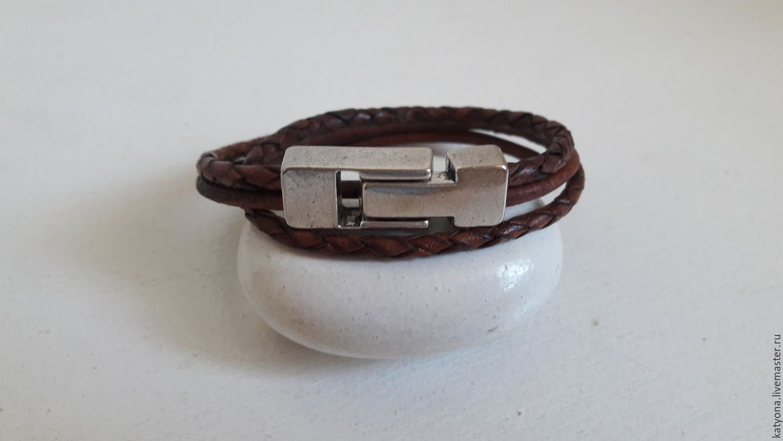 Кожаный браслет-намотка в 2 оборота с магнитной застежкой