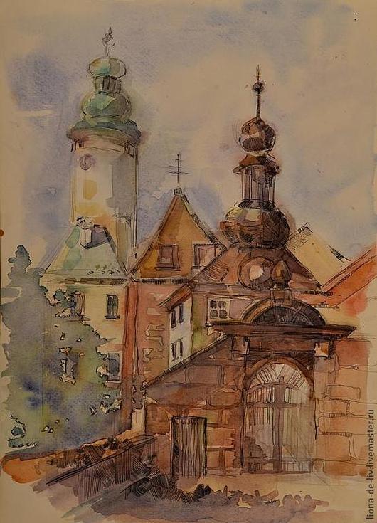 Город ручной работы. Ярмарка Мастеров - ручная работа. Купить Ворота в .... Handmade. Церковь, акварельная живопись, акварель