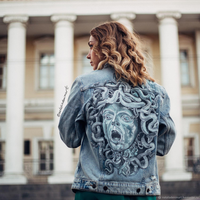 Medusa Gorgon print denim jacket. painted clothing, Outerwear Jackets, Omsk,  Фото №1