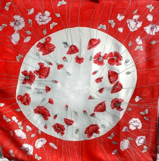 """Шали, палантины ручной работы. Ярмарка Мастеров - ручная работа. Купить Шелковый платок """"Валентинка"""". Handmade. Ярко-красный, шелк"""