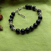 Украшения handmade. Livemaster - original item bracelet with black iridescent obsidian. Handmade.