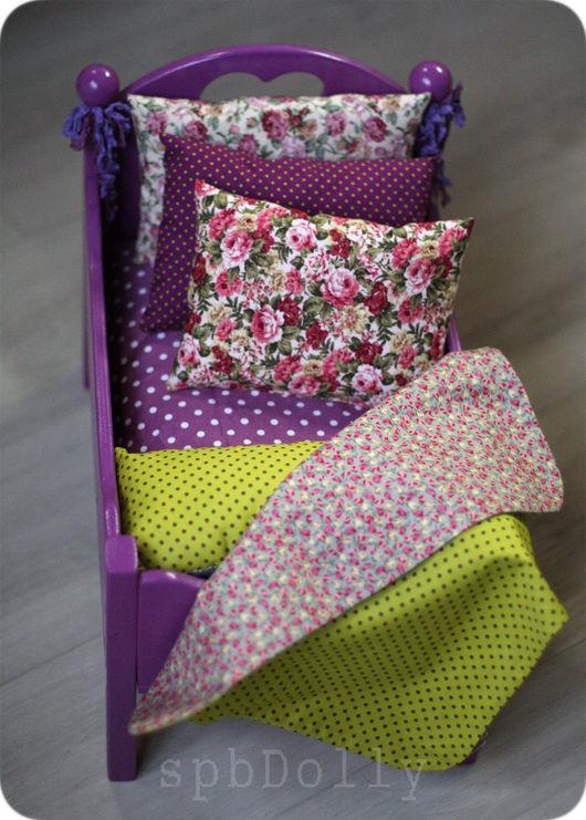 Кукольный дом ручной работы. Ярмарка Мастеров - ручная работа. Купить Богемия (миди) кровать для куклы с постельным бельем. Handmade.