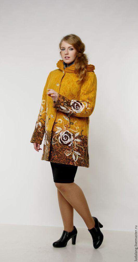 Большие размеры ручной работы. Ярмарка Мастеров - ручная работа. Купить Пальто демисезонное Шафран. Handmade. Оранжевый