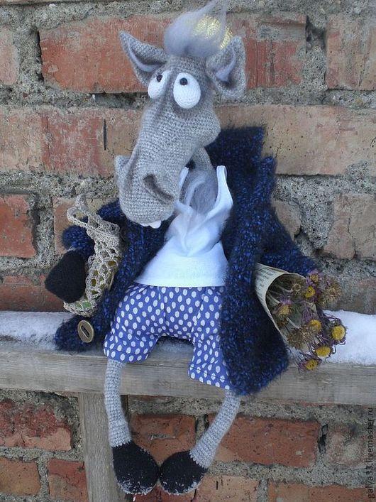 """Игрушки животные, ручной работы. Ярмарка Мастеров - ручная работа. Купить Вязаная игрушка """"Конь в пальто"""". Handmade. Серый, пряжа"""