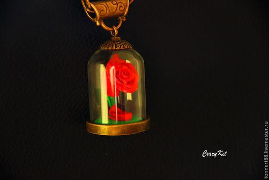 """Колье, бусы ручной работы. Ярмарка Мастеров - ручная работа. Купить Колье """"Красавица и чудовище"""". Handmade. Ярко-красный, роза"""