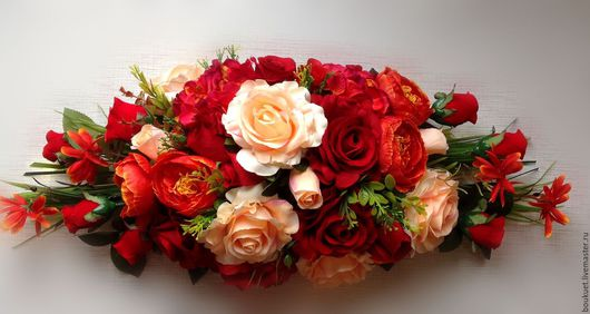 Свадебные цветы ручной работы. Ярмарка Мастеров - ручная работа. Купить Композиция из роз. Handmade. Бордовый, свадьба, ярко-красный
