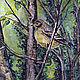 """Пейзаж ручной работы. Ярмарка Мастеров - ручная работа. Купить Картина акварелью """"Птица"""". Handmade. Тёмно-зелёный, акварельная картина"""