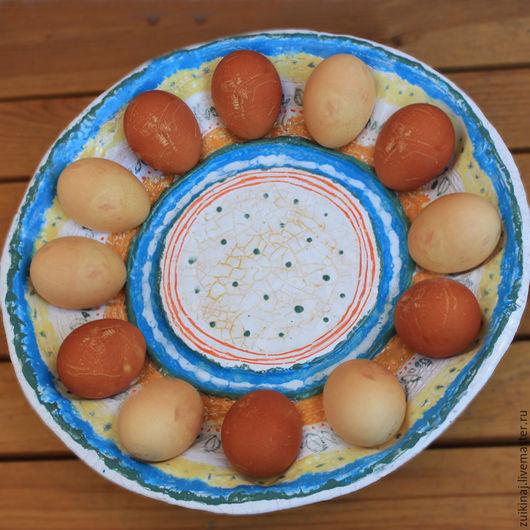 """Тарелки ручной работы. Ярмарка Мастеров - ручная работа. Купить Блюдо """"Светлая Пасха"""". Handmade. Голубой, керамика ручной работы"""