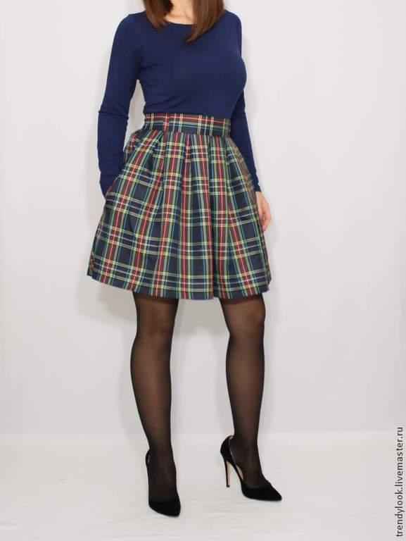Купить юбку клетчатую в складку