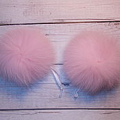 Материалы для творчества ручной работы. Ярмарка Мастеров - ручная работа Помпон песец розовый. Handmade.