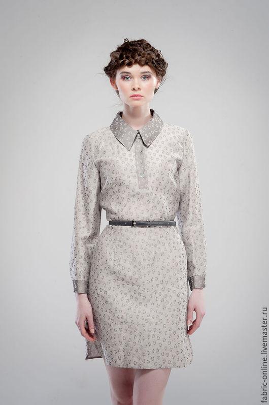 Платья ручной работы. Ярмарка Мастеров - ручная работа. Купить Платье-рубашка из льна светло серое с цветочками. Handmade. Серый