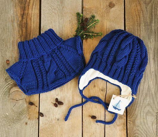 Шапки и шарфы ручной работы. Ярмарка Мастеров - ручная работа. Купить Детский комплект вязаный. Handmade. Комплект вязаный, шерсть