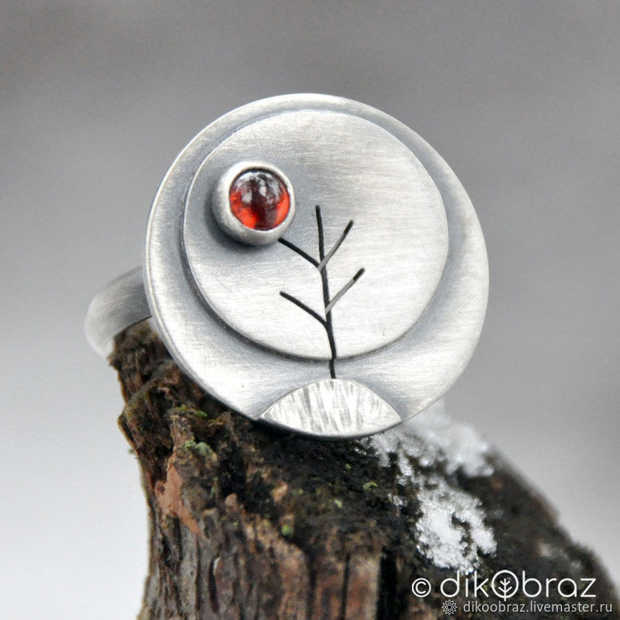 Ring silver garnet Trees, silver jewelry, Rings, Moscow,  Фото №1