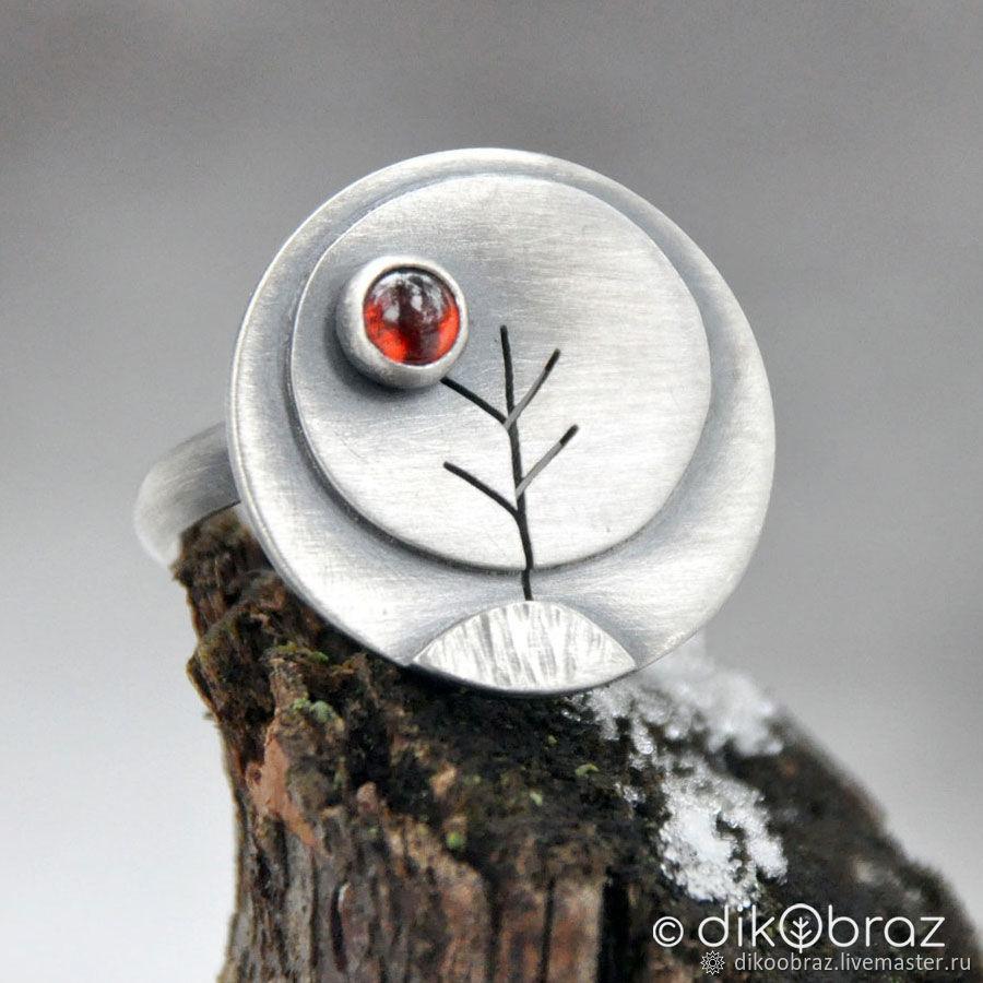 "Кольцо ""Деревья"" (серебро 925, гранат), Кольца, Москва,  Фото №1"