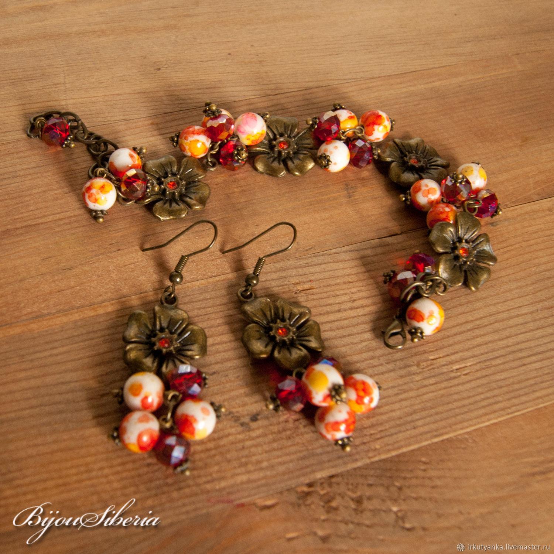 """Copy of Earrings and bracelet """"Autumn - 2"""", Jewelry Sets, Irkutsk,  Фото №1"""