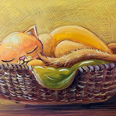 Картины и панно ручной работы. Ярмарка Мастеров - ручная работа Рыжий кот картина маслом. Handmade.