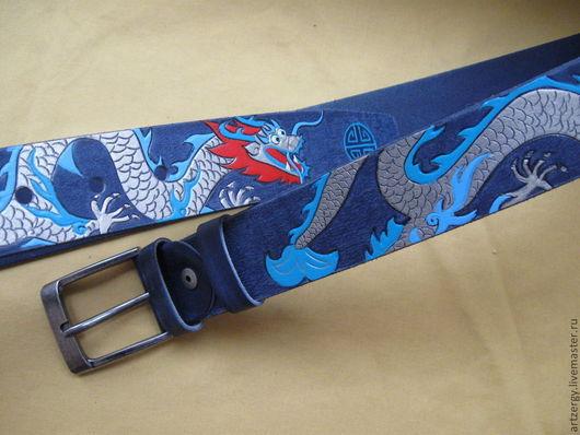 """Пояса, ремни ручной работы. Ярмарка Мастеров - ручная работа. Купить ремень кожаный  """"драконы цветные"""". Handmade. Ремень, дракон"""