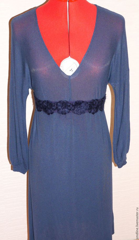 Платья ручной работы. Ярмарка Мастеров - ручная работа. Купить Платье трикотажное темно-синее. Handmade. Тёмно-синий