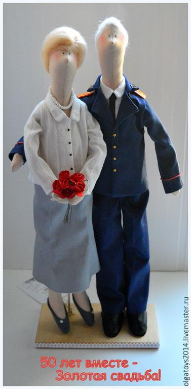 Куклы Тильды ручной работы. Ярмарка Мастеров - ручная работа. Купить Портретные куколки семейной пары.. Handmade. Белый, военный