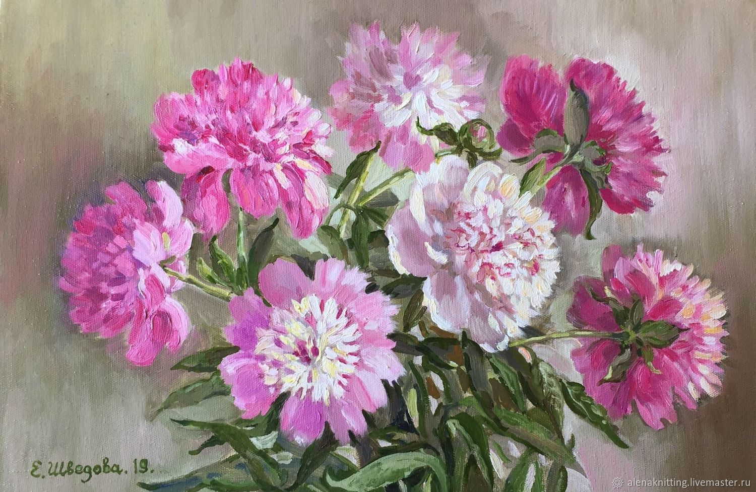Oil painting 'Favorite peonies», Pictures, Moscow,  Фото №1
