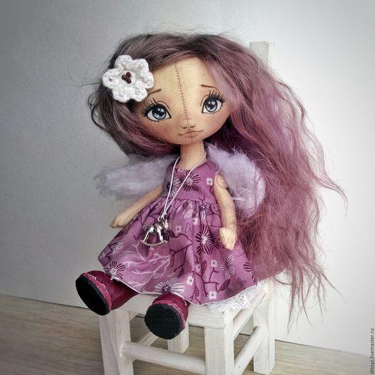 Коллекционные куклы ручной работы. Ярмарка Мастеров - ручная работа. Купить Лиловый Ангел, кукла текстильная, 19 см. Handmade.