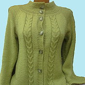 Одежда manualidades. Livemaster - hecho a mano Cardigan olive color. Handmade.