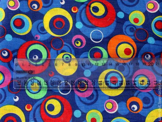 Шитье ручной работы. Ярмарка Мастеров - ручная работа. Купить Отрез хлопка круги 50х75 см. Handmade. Голубой