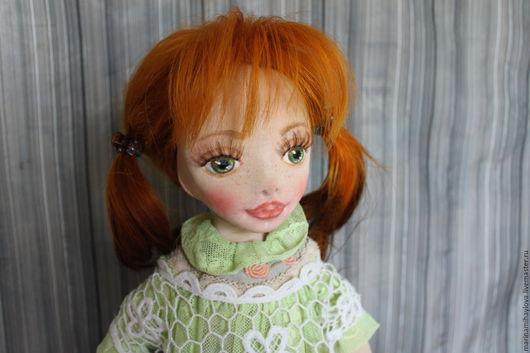 Коллекционные куклы ручной работы. Ярмарка Мастеров - ручная работа. Купить Полинка текстильная коллекционная кукла. Handmade. Салатовый