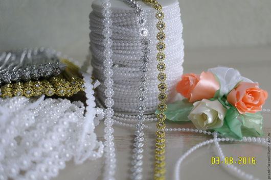 Другие виды рукоделия ручной работы. Ярмарка Мастеров - ручная работа. Купить Бусы на леске белые   3мм  и Бусы декор. кант на нитке. Handmade.