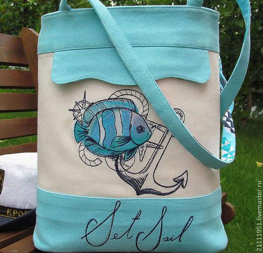 Женские сумки ручной работы. Ярмарка Мастеров - ручная работа. Купить Морская бирюзовая текстильная сумка с вышивкой. Handmade. Рисунок